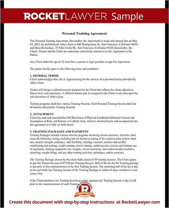 personal training agreement rl