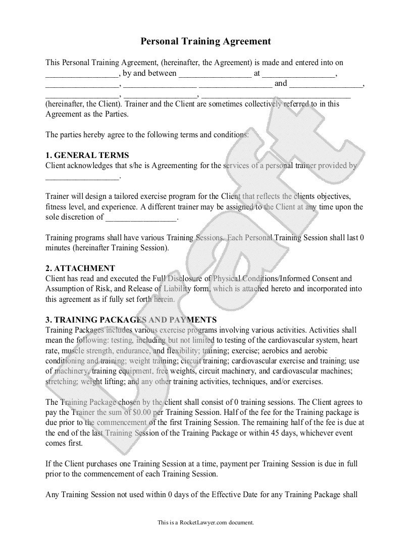 Personal Trainer Contract with Gym Template Personal Trainer forms Personal Training Contract