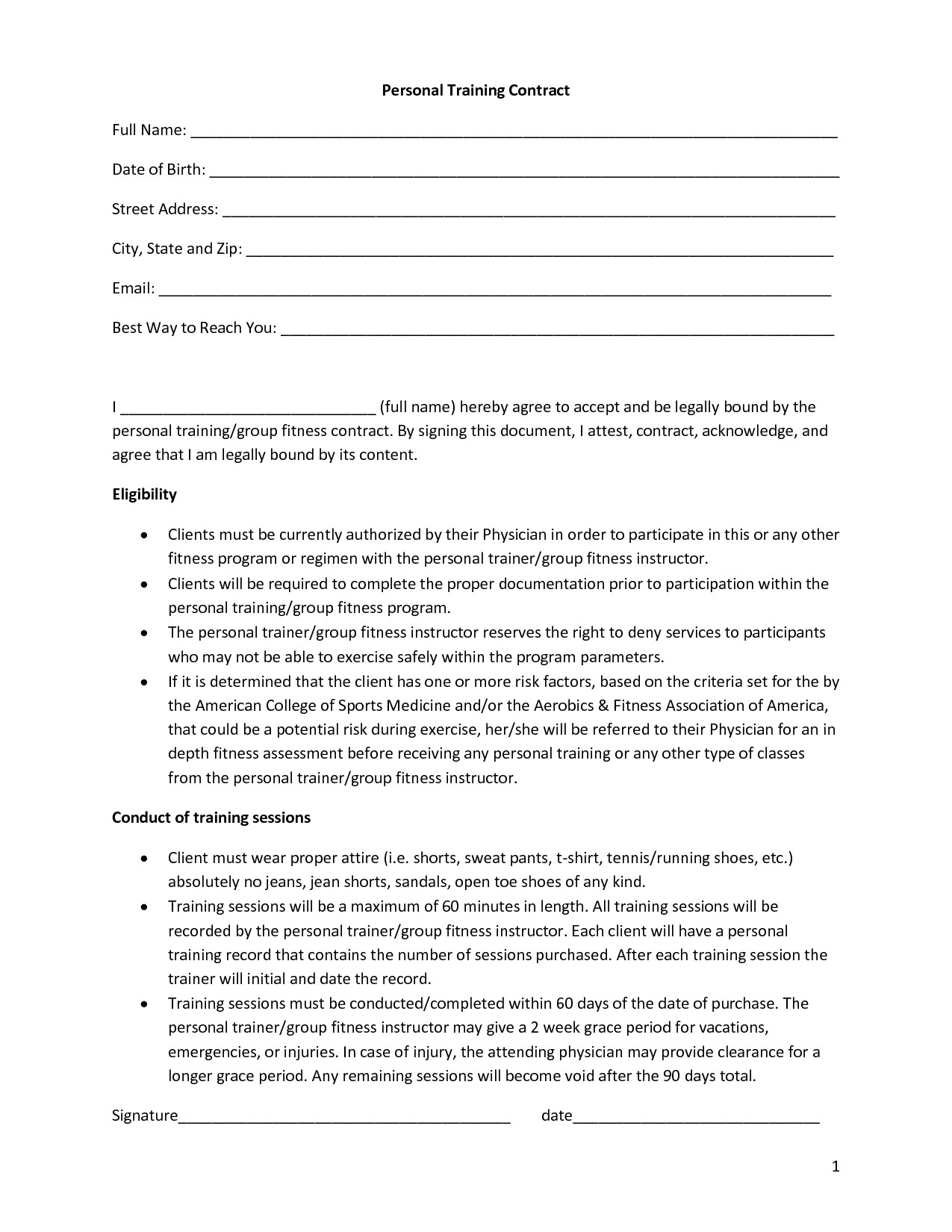 personal training contract templates five 1 fitness pinterest personal training contract template