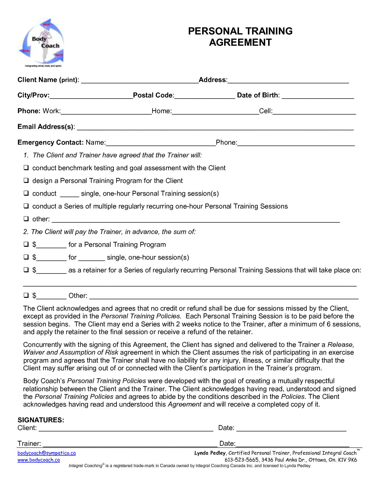 Personal Trainer Contract with Gym Template Personal Training forms Images Personal Training
