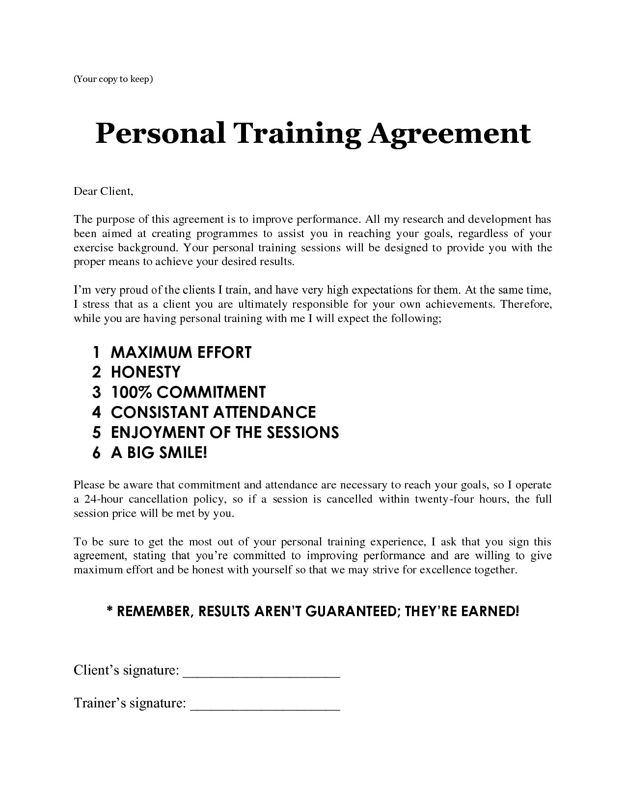 Personal Trainer Contract with Gym Template Personal Training Sheets Images Personal Training