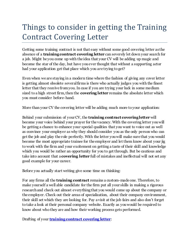 things to consider in getting the training contract covering letter