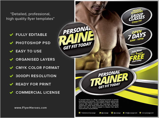 Personal Training Flyer Templates Free Personal Fitness Flyer Template Flyerheroes
