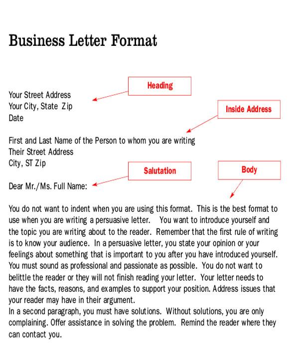 persuasive business letter