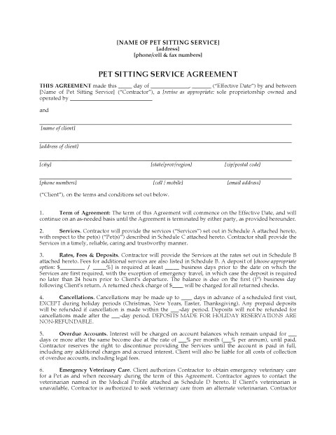 pet sitting contract template