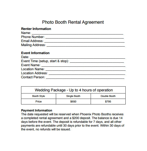 Photo Booth Rental Contract Template Sample Booth Rental Agreement 8 Documents In Pdf Word