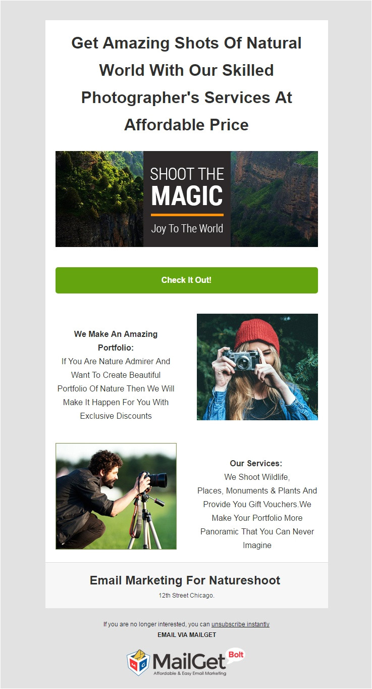 best photographer email templates