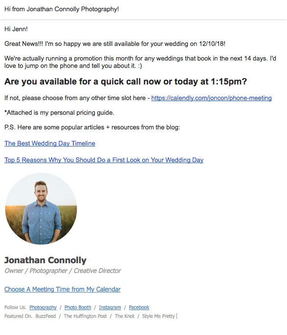 photographer email templates
