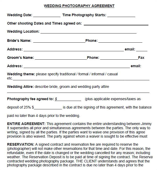 Photography Contract Template Australia Simple Photography Contract Template Download