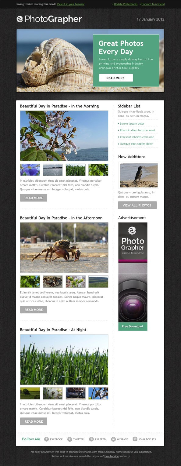 free html email template photographer