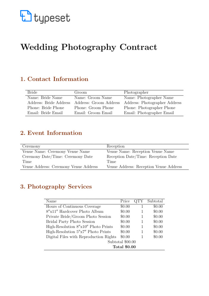 photoshoot contract template