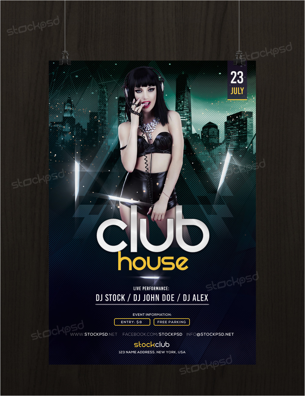 get free club house flyer template photoshop