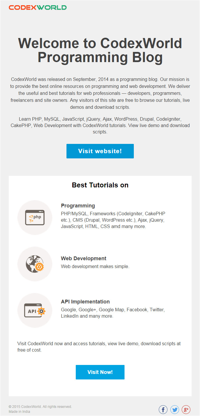 beautiful html email template by codexworld