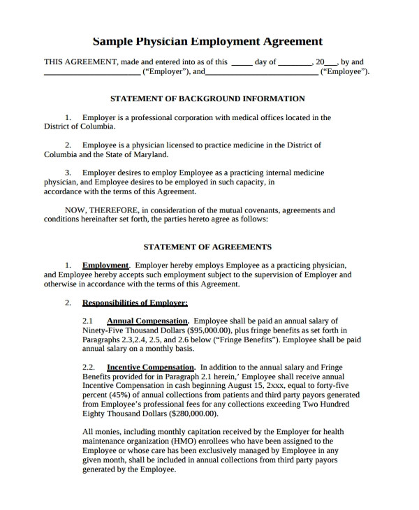 Physician assistant Employment Contract Template Sample Physician Employment Agreement 7 Documents In