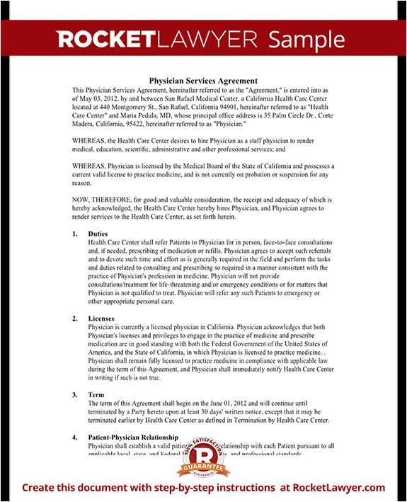 physician services agreement rl