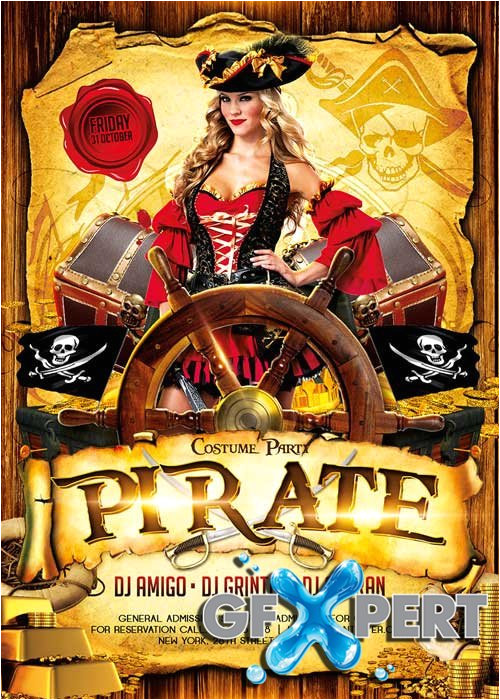 8384 pirate party 2 flyer template facebook cover