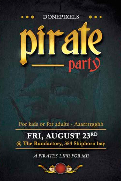 get free pirate party flyer psd template flyer template