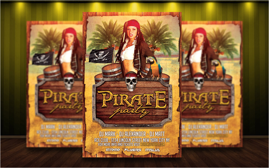 pirate costume party flyer template 550388936