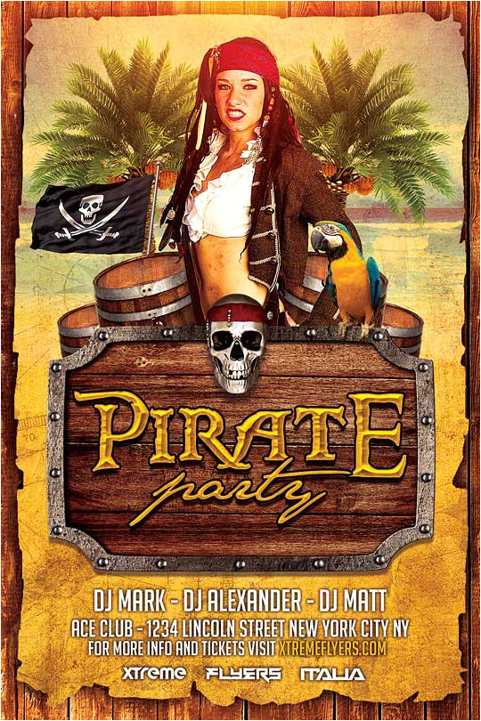 pirate costume party flyer