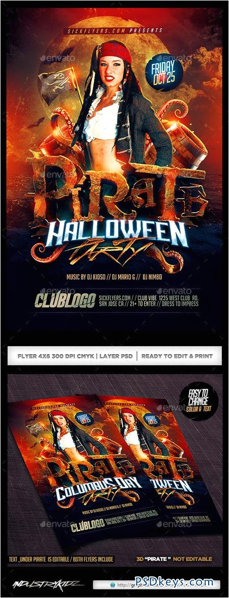 6410 pirate party flyer template 9074660