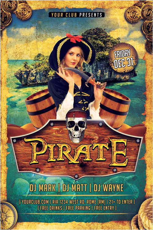 Pirate Flyer Template Free Pirate Party Flyer Template Psd Xtremeflyers