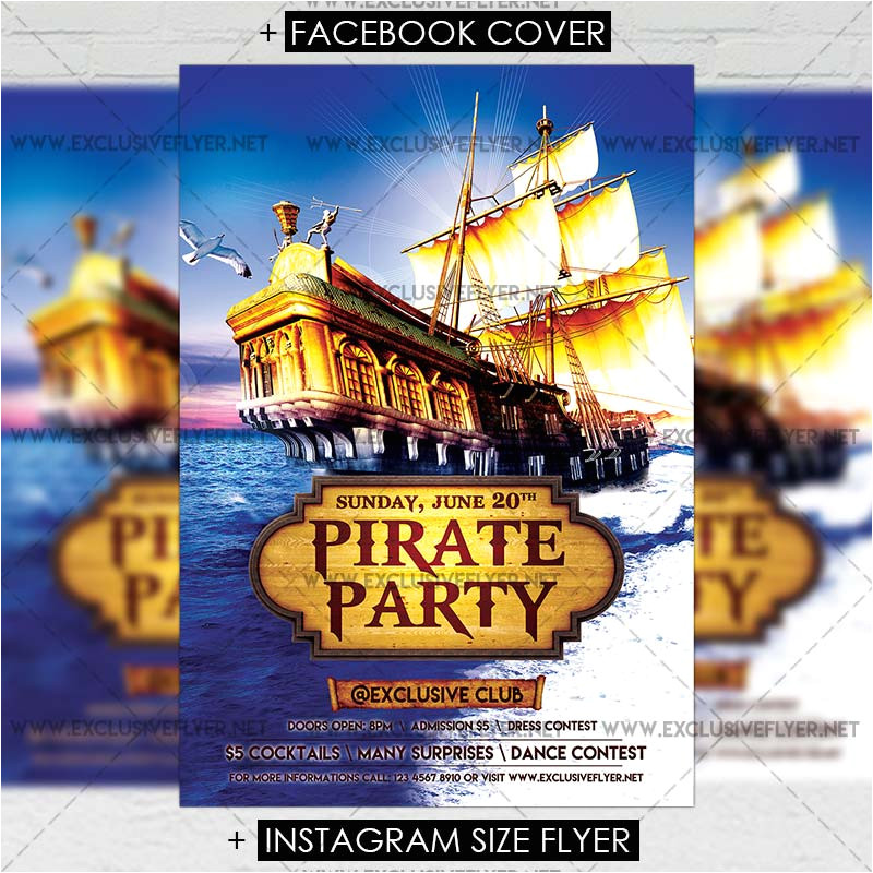 pirate party premium a5 flyer template