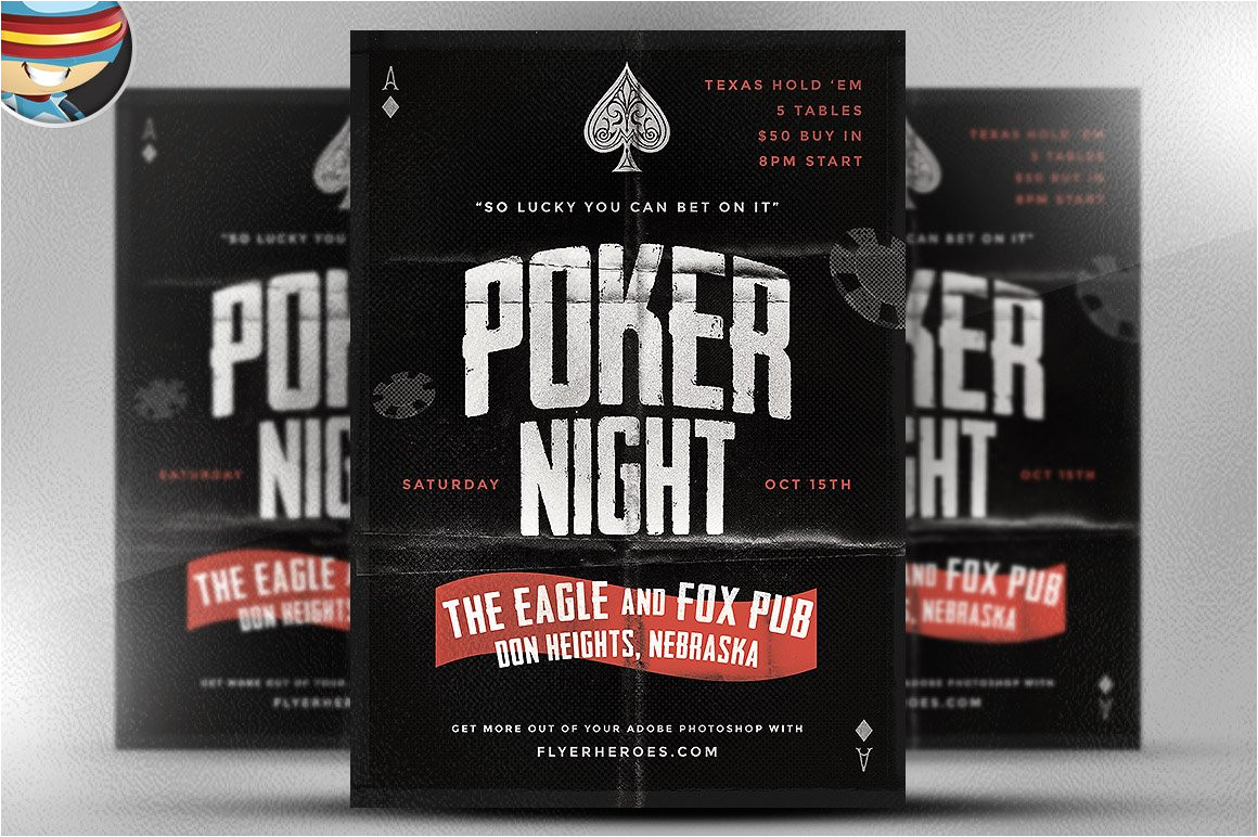 57879 vintage style poker flyer template