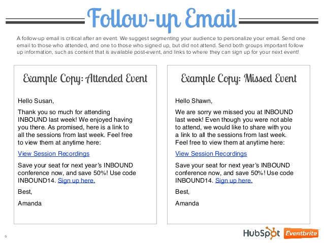 4 event emails explained