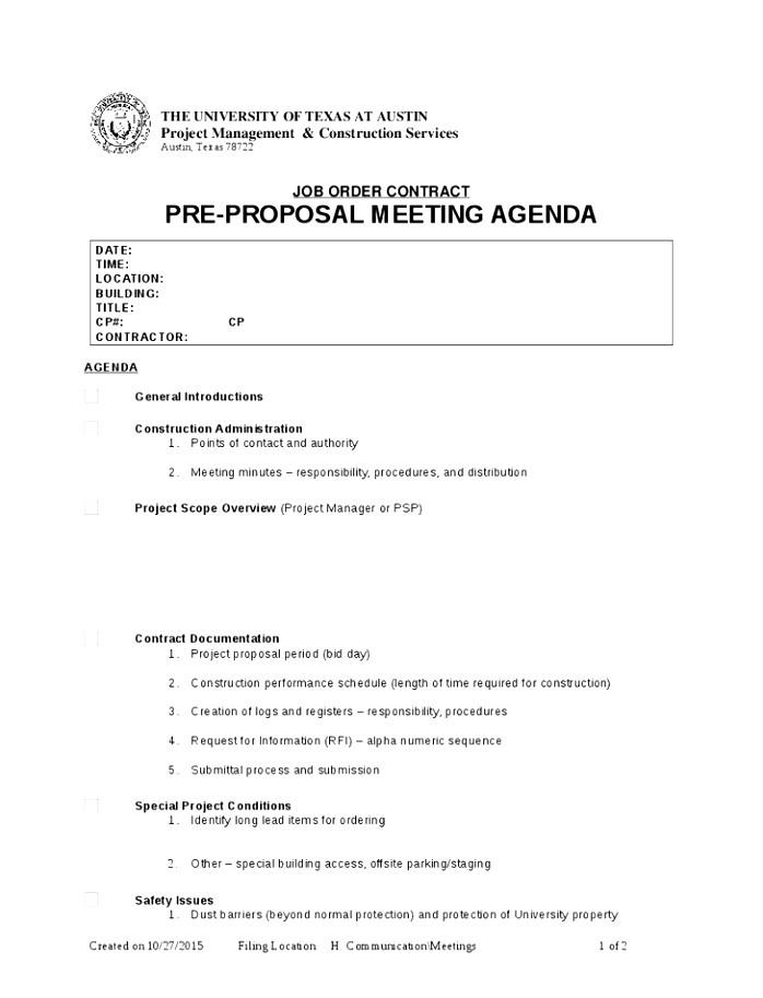 pre construction meeting agenda template