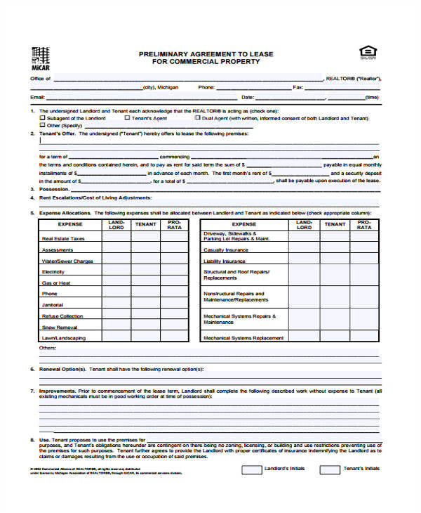 commercial agreement templates