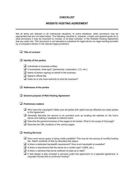 checklist website hosting agreement d770