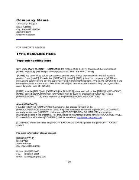 press release promotion of employee d1406