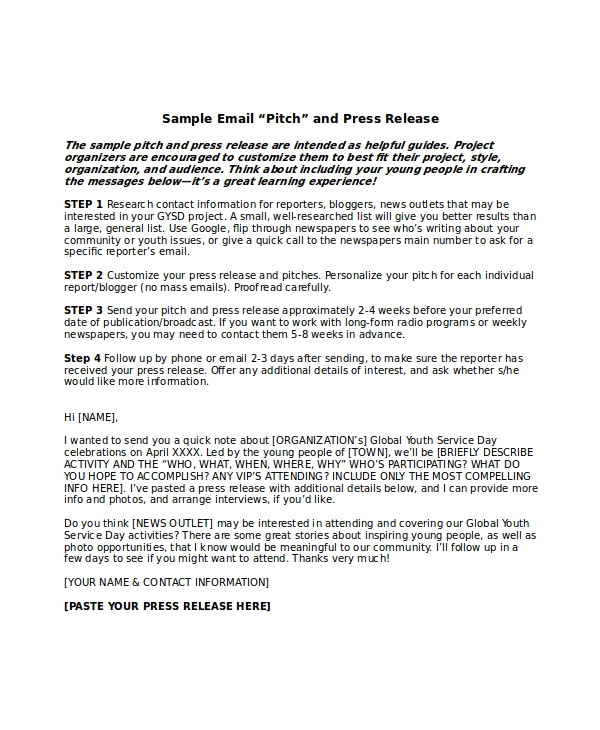 Press Release Follow Up Email Template Press Release Template 21 Free Word Pdf Document