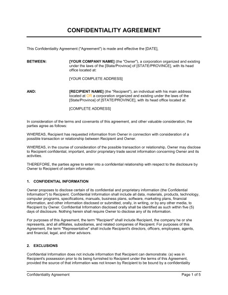 confidentiality agreement d950
