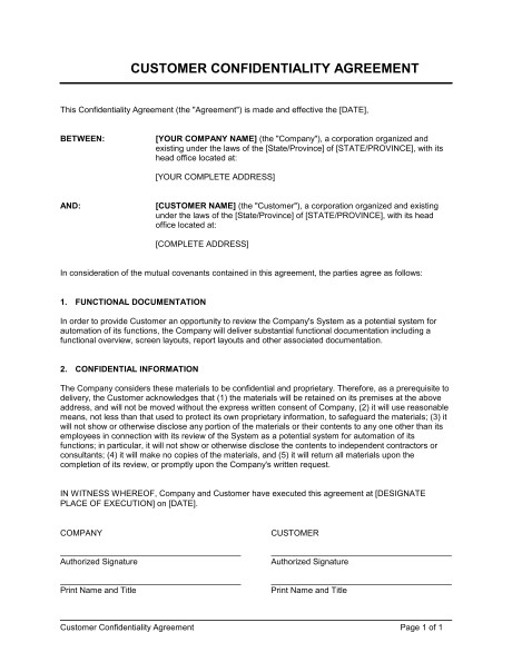 customer confidentiality agreement d951