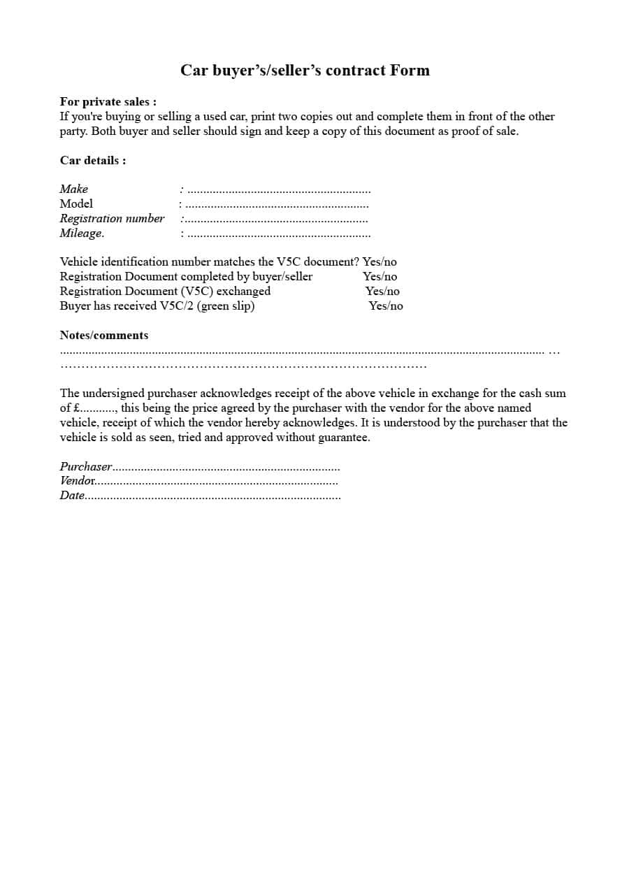 Private Party Car Sale Contract Template 42 Printable Vehicle Purchase Agreement Templates ᐅ