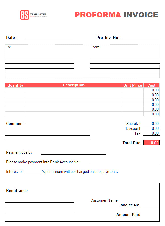 proforma invoice template excel