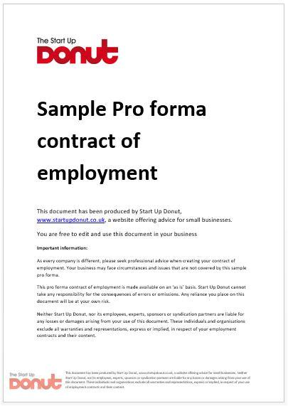 sample proforma employment contract