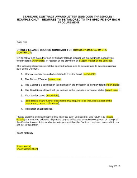 awarding contract letter templates