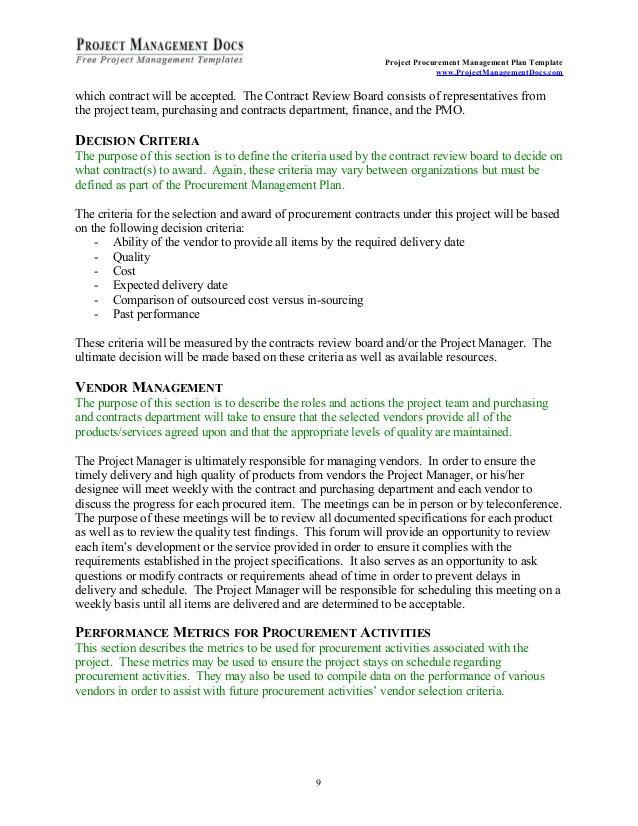 procurement managementplan