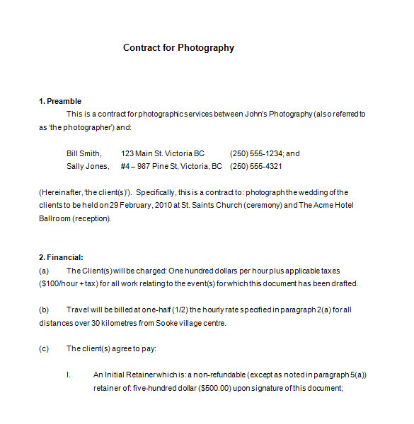 commercial photography contract template