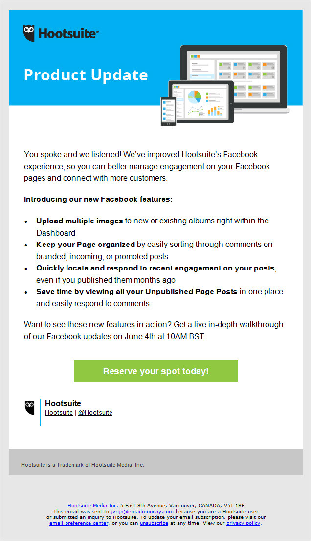 Product Update Email Template Hootsuite Product Update Launch Email Email Newsletter