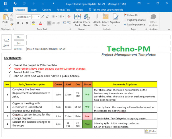 project update detailed outlook template