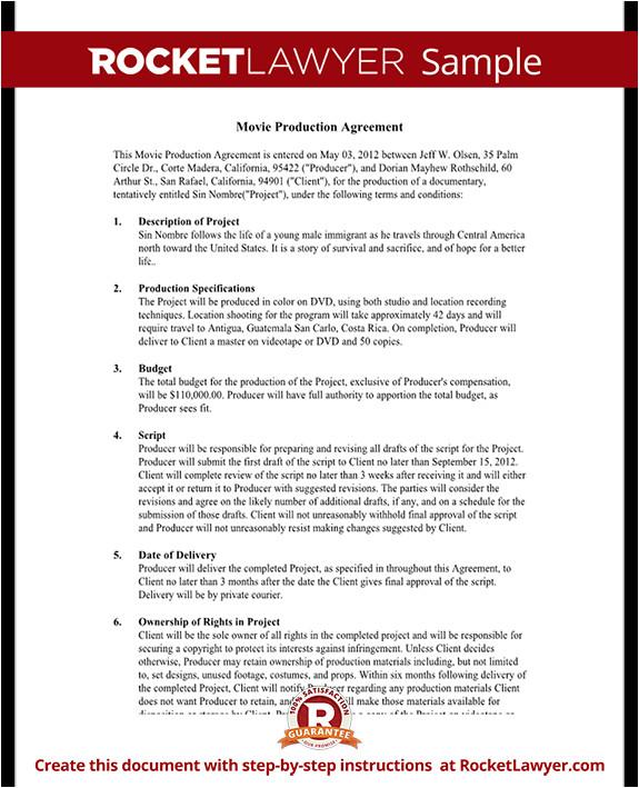 movie production agreement rl