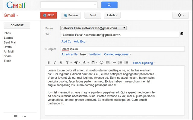 gmail email templates sample