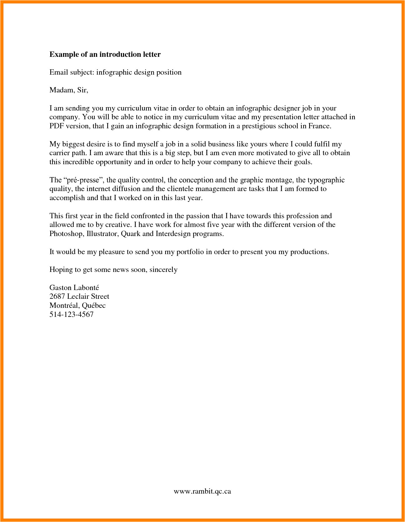 company introduction email sample