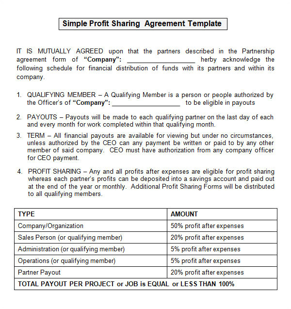 Profit Share Contract Template Sample Profit Sharing Agreement 10 Free Documents In