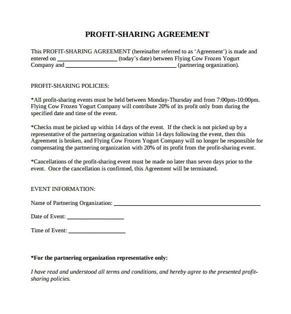 sample profit sharing agreement