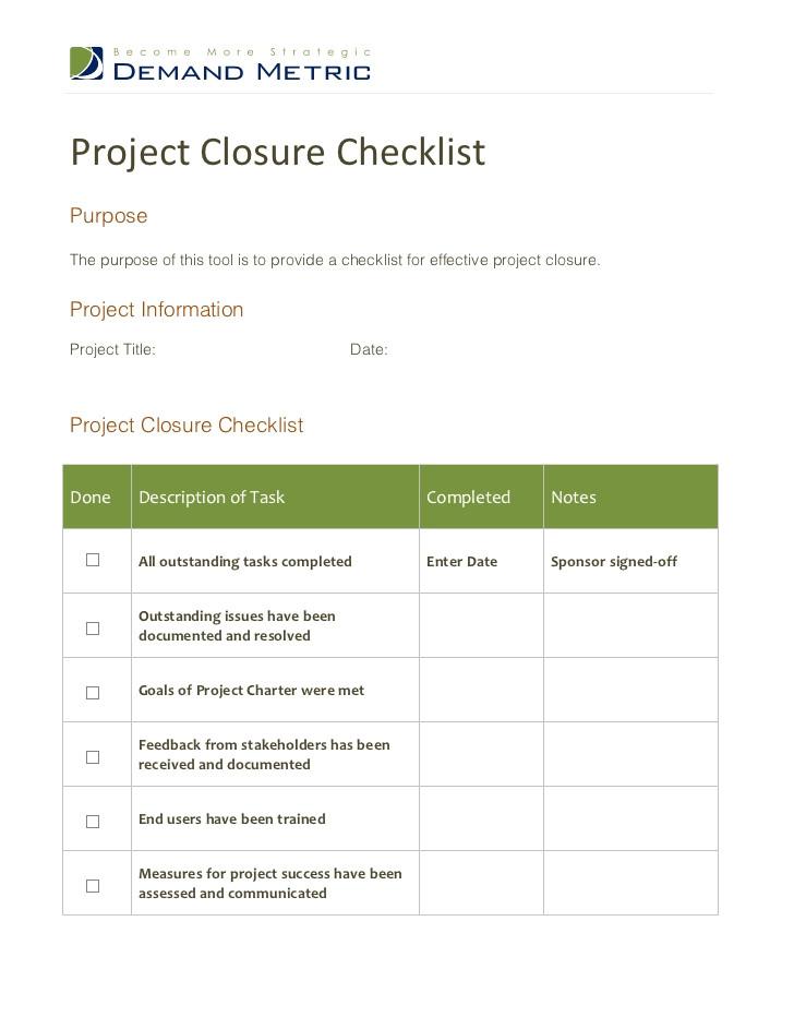 project closure checklist 12316293