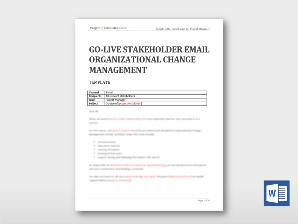 go live stakeholder email organizational change management